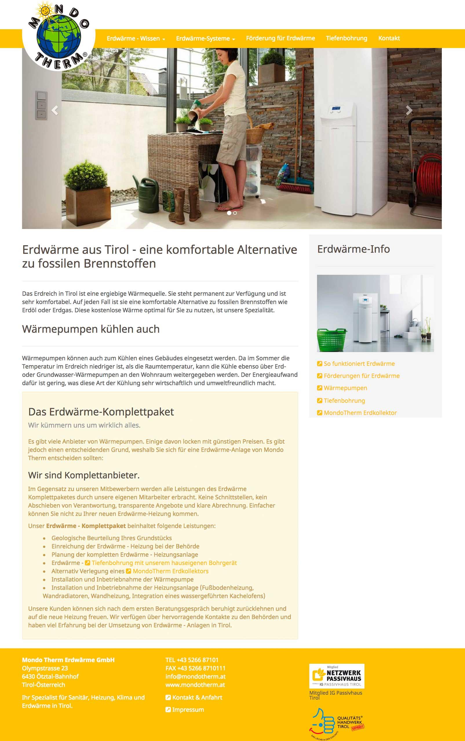 Neue Website für Mondo Therm www.erwaerme-tirol.at