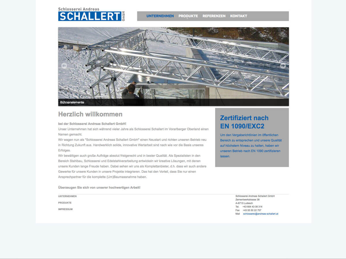 Website Schlosserei Schallert