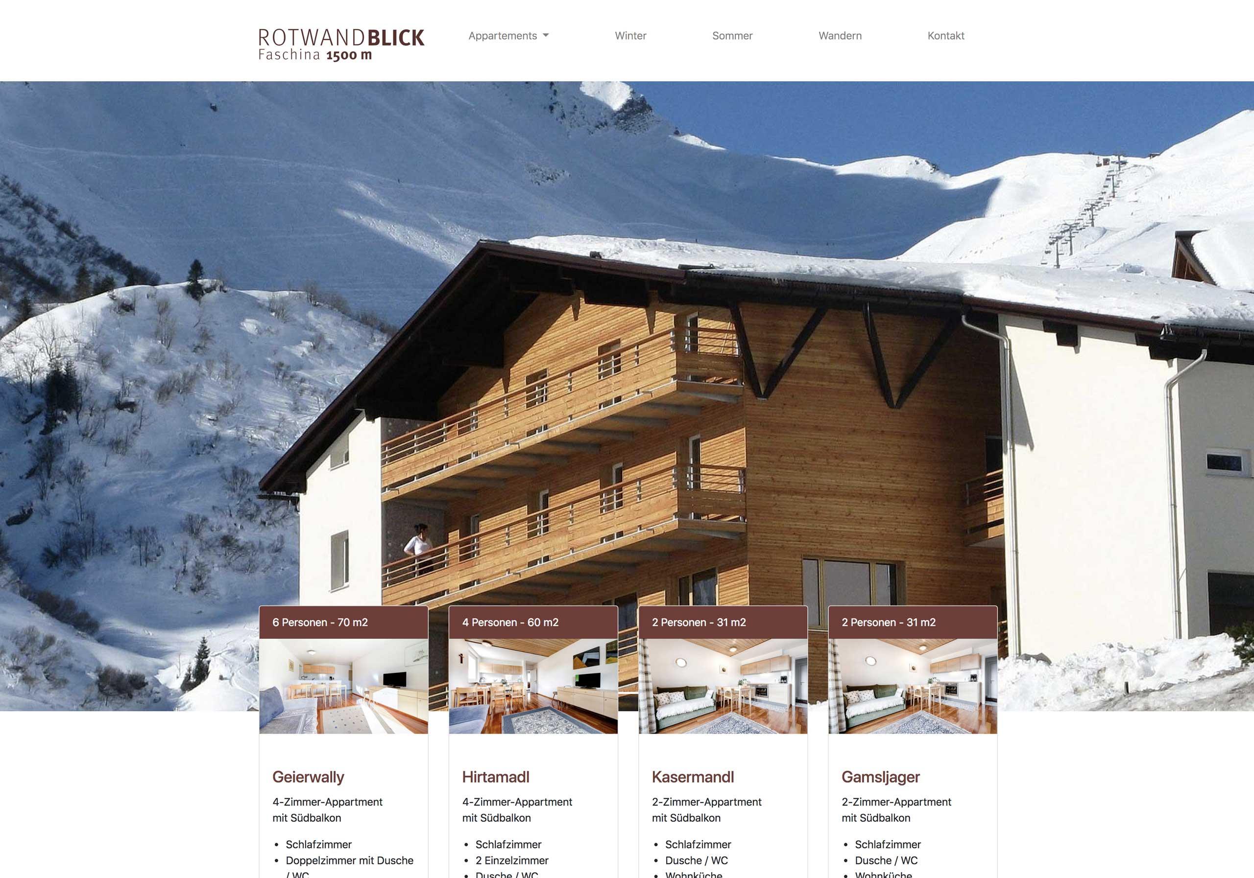 Website Appartementhaus Rotwandblick